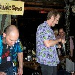 Hurricane Hayward, with assistance from Nik Satterfield, mixes his Atomic Zombie Cocktail during the Zombie Jamboree at The Mai-Kai in April 2011. (Atomic Grog photo)
