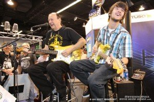 Dick Dale performs with son Jimmy at the NAMM Convention in Anaheim, Calif., in January.