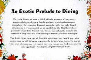 From an early Mai-Kai cocktail menu.