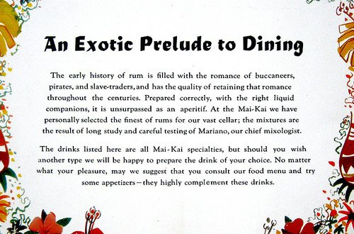 From an early Mai-Kai cocktail menu.