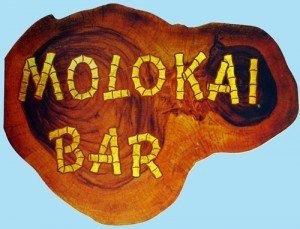 The cover of a vintage Molokai bar menu.