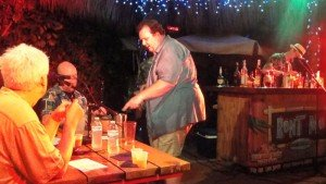 Pablus delivers his drink, Jack Sparrow's Rum Barrel, to the judges.