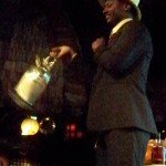 Ian Burrell, founder of the UK Rumfest, shows off his 'ninja shake' with a large teapot shaker.