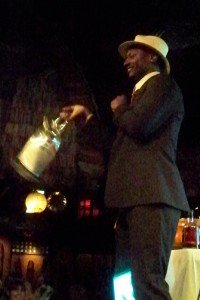 Ian Burrell, founder of the London RumFest, on stage at The Mai-Kai during the