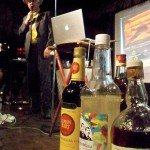 """Wayne Curtis, author of the book """"And a Bottle of Rum: A History of the New World in Ten Cocktails,"""" makes his presentation."""