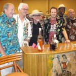 "The Atomic Grog's Jim ""Hurricane"" Hayward (third from right) with Jeff ""Beachbum"" Berry (third from left) and the Rum Rat Pack before the group's meet-and-greet at the Bahia Mar Beach Resort during Friday's Hukilau festivities."