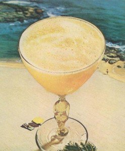 A vintage photo of the Derby Daiquiri in its custom glass honoring the Florida Derby