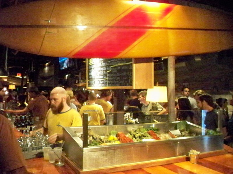 Near the middle of the restaurant is the extensive raw bar.
