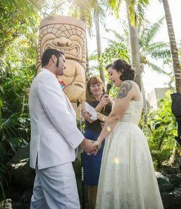 The Mara-Amu Tiki stands in The Mai-Kai gardens in a spot popular for weddings. Mike and Chelsea from Austin tied the knot there in April 2015. (TIki Central photo)