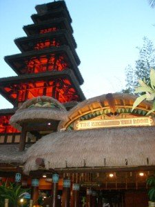 An evening shot of The Enchanted Tiki Room at Walt Disney World's Magic Kingdom in February 2009. (Photo by Jim Hayward)
