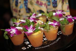 The Mai-Kai often serves sample Mai Tais at special events, such as the Chairman's Reserve Mai Tai Challenge in October 2018. (Atomic Grog photo)