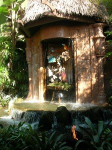 The pre-show waterfall at the Enchanted Tiki Room at Walt Disney World's Magic Kingdom in November 2008. (Photo by Susan Hayward)