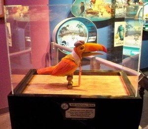 "An original Audio-Animatronic Tiki bird on display in the ""One Man's Dream"" exhibit at Disney's Hollywood Studios at Walt Disney World in October 2009. (Photo by Jim Hayward)"