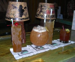 After changing rums in 2012, the Bora Bora (second from right) now can compete with any of The Mai-Kai's classic cocktails, such as (from left) the Special Planters Punch, Black Magic and Jet Pilot