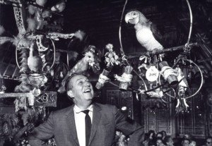 Walt Disney with his friends in Disneyland's Enchanted Tiki Room, 1963. (Walt Disney Co.)