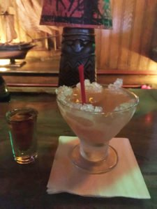"The Shark Bite is always served with a ""side of danger"" (in this case, a shot of aged Appleton rum). (Photo by Hurricane Hayward, March 2017)"