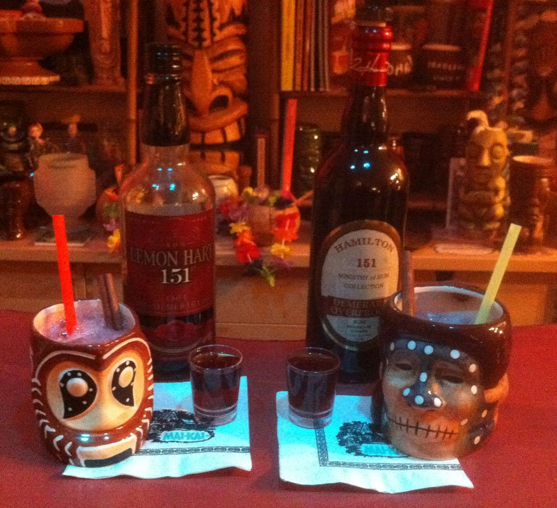 Shrunken Skull vs. Shrunken Skull: Compared head-to-head, it was nearly almost impossible to tell the difference between the two rums. The Hamilton 151 version has just the slightest amount of extra heat. (Photo by Hurricane Hayward, March 2015)