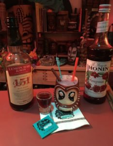 A Shrunken Skull tribute featuring Lemon Hart 151 rum and Monin pomegranate syrup. (Photo by Hurricane Hayward, November 2016)