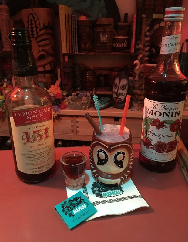 The latest Shrunken Skull tribute recipe features Lemon Hart 151 rum and Monin pomegranate syrup. (Photo by Hurricane Hayward, November 2016)