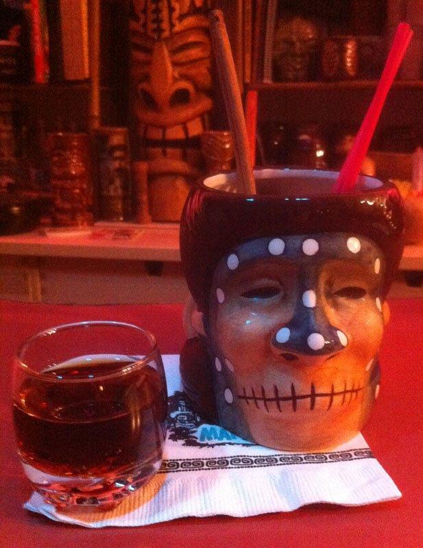 Shrunken Skull tribute by The Atomic Grog using the Abelam mug and Lemon Hart 151 rum. (Photo by Hurricane Hayward, May 2012)