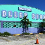 The facade of the Gold Coast Roller Rink in Fort Lauderdale was intact on Monday, Sept. 5, 2011. But demolition was well under way. (Photo by Hurricane Hayward)