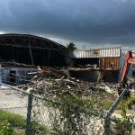 The rear of the historic Gold Coast Roller Rink in Fort Lauderdale in the midst of being demolished on Monday, Sept. 5, 2011. (Photo by Hurricane Hayward)