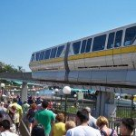 The monorail arrives at the gates of the Magic Kingdom with Disney&#039;s Contemporary Resort in the background. (Photo by Hurricane Hayward - Oct. 1, 2011)