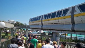 The monorail arrives at the gates of the Magic Kingdom with Disney's Contemporary Resort in the background. (Photo by Hurricane Hayward - Oct. 1, 2011)