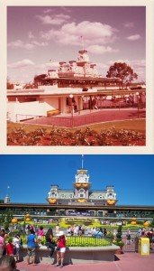 The Magic Kingdom entrance and train station, as seen in December 1972 and Oct. 1, 2011. (Photos by Hurricane Hayward)