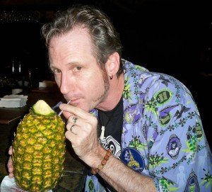Hurricane Hayward savors every last drop of rum and pineapple juice from his Lapu Lapu in the Tambu Lounge at Disney's Polynesian Resort. (Photo by Susan Hayward - Oct. 1, 2011)