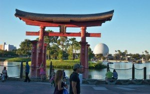 A view of the World Showcase Lagoon and the iconic Spaceship Earth from the Japan pavilion. (Photo by Hurricane Hayward)