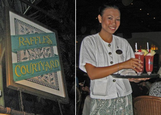 A waitress serves authentic Singapore Slings at the Raffles Hotel in November 2008. (Photos by Al and Barbara Hayward)