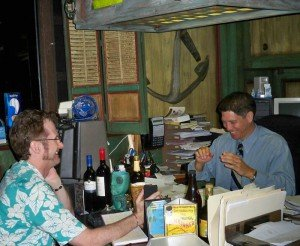 Kern Mattei shares a laugh with Hurricane Hayward in his office during the interview in July 2011. (Photo by Susan Hayward)