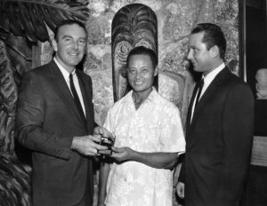Original owners Bob Thornton (left) and Jack Thornton (right) with master mixologist Mariano Licudine. (From Mai-Kai: History and Mystery of the Iconic Tiki Restaurant)