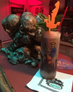 Tribute to The Mai-Kai Zombie by The Atomic Grog, October 2016. Served in a Beachbum Berry Zombie Glass from Cocktail Kingdom. (Photo by Hurricane Hayward)