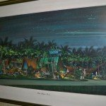 "The painting known as ""The Mai-Kai that never was"" hangs in the office. The design was never implemented but the artwork was used on postcards. (Stop 6)"