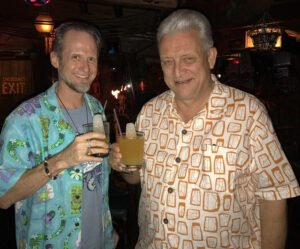The Yeoman's Grog is a favorite of Tiki historian and author Sven Kirsten, seen here sharing a toast with Hurricane Hayward on New Year's Eve 2016. (Atomic Grog photo)