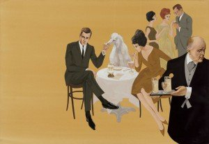 Summer Cocktail Party with English Butler, 1961. Watercolor, gouache, ink on paper by Larry Salk.