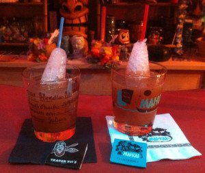 The Yeoman's Grog (right) and the Navy Grog (Trader Vic's version) are used to test the Navy Grog Ice Cone Kit's performance against the traditional pilsner glass method