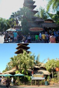 The Enchanted Tiki Room's Under New Management theming (bottom photo, February 2009) was ditched in 2011 when the attraction was returned to its original splendor and re-opened as Walt Disney World's Enchanted Tiki Room (top photo, October 2011).