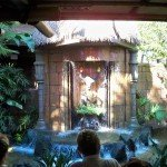 The toucans Claude and Clyde emerge from the waterfall to serenade the waiting guests (October 2011).