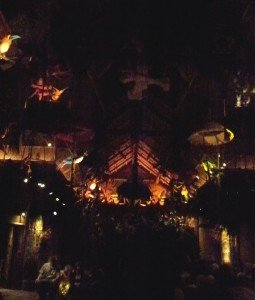 A view of the A-frame ceiling and Tiki architecture inside the attraction (November 2011).