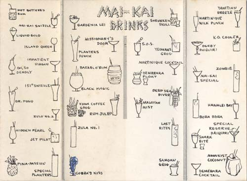 Okole Maluna Society menu from The Mai-Kai.