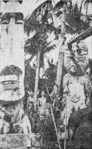 "A 23-foot, 6-ton Moai and a 16-foot, 3 1/2-ton Tiki are set up at The Mai-Kai in 1964 after arrviing by fright car. The Moai still stands at the south corner of the property. (News clipping provided by Tim ""Swanky"" Glazner)"