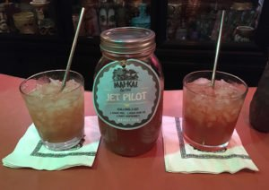 The Mai-Kai's Jet Pilot (left) is compared to our previous tribute recipe. (Photo by Hurricane Hayward, July 2020)