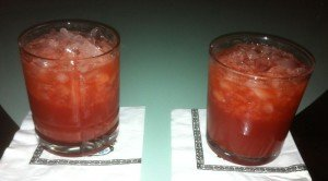 A Jet Pilot tribute featuring a 50/50 mix of Fee Brothers grenadine and Smucker's Red Raspberry Syrup (left) is compared to a version containing fassionola