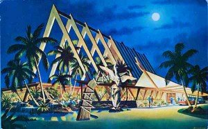 One of the oldest Mai-Kai postcards, a rendering by architect Charles McKirahan. (From SwankPad.org)
