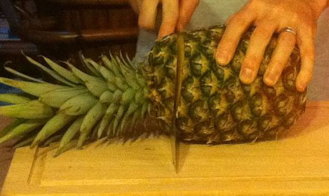 Step 2: Behead the pineapple