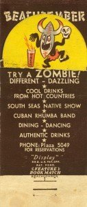 A vintage 1940s Zombie matchbook image from Monte Proser's Beachcomber restaurant in Baltimore