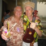 The Mai-Kai's Dave Levy is a hands-on and accessible owner who can often be found in his bar sampling drinks for quality control, or attending high-profile events such as the Tiki Tower Takeover at The Hukilau 2016. Here he hobnobs with entertainer King Kukulele (right). (Atomic Grog photo)